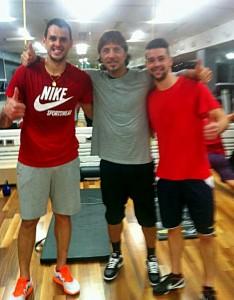 Tiberio Ancora con gli ex leccesi Fabiano e Lepore (foto fonte facebook)