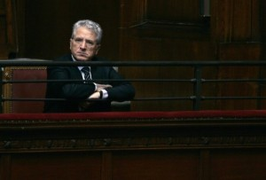 Matarrese, head of Italy's soccer league, observes a parliamentary session at the Montecitorio Palace in Rome