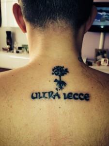 Tatuaggio ultrà Lecce di Danilo Stanca
