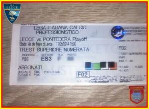 biglietto Lecce-Pontedera play-off 11-5-2014