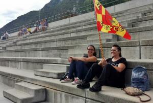 Bandiera giallorossa tifosi