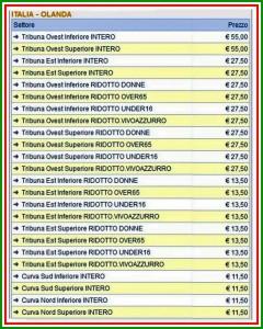 biglietti Italia-Olanda
