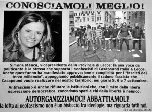 manifesto contro Simona Manca