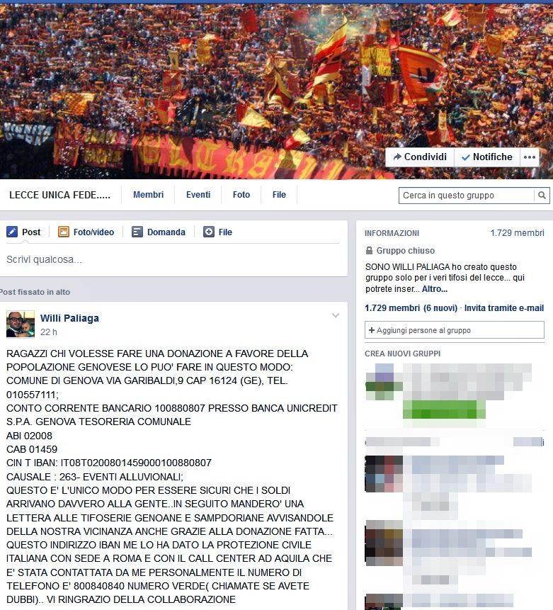 pagina Lecce Unica fede per Genova