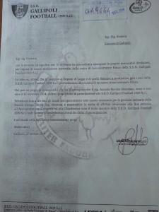 La lettera di dimissioni del presidente Marcello Barone