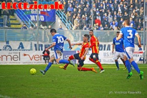 Un'azione di gioco dell'ultimo F. Andria-Lecce