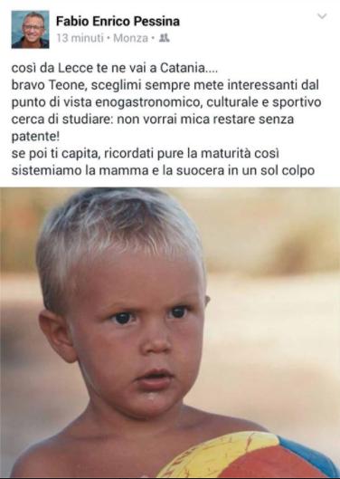 Il post su Facebook del papà di Matteo Pessina.