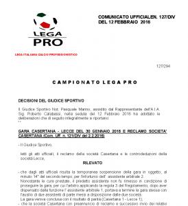 Comunicatogiudice sportivo Casertana-Lecce