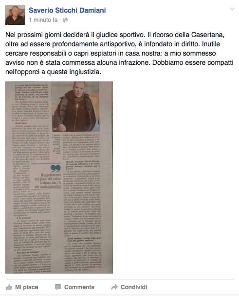 Il post di Saverio Sticchi Damiani
