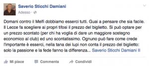 Il post di Saverio Sticchi Damiani