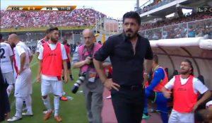 Gattuso in campo Foggia-Pisa