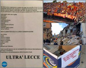 ultrà Lecce per terremoto Centro Italia