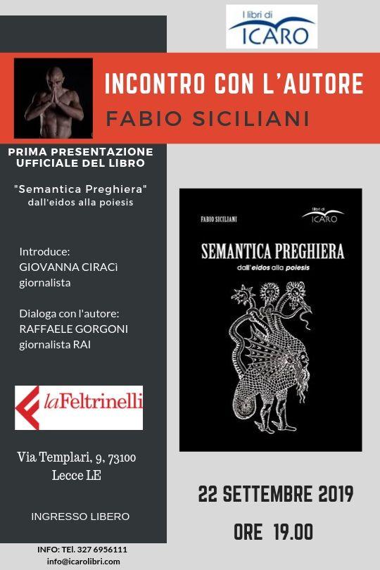"""Alla Feltrinelli """"Semantica preghiera"""" di Fabio Siciliani ..."""